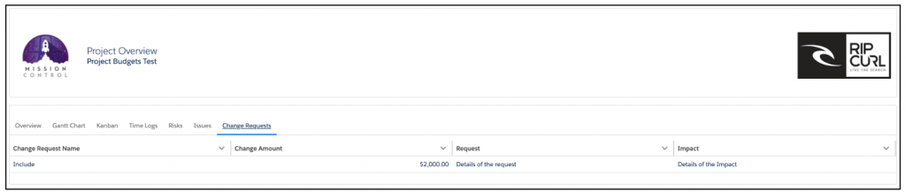 Salesforce Project Management Software - Customer Change Requests Tab