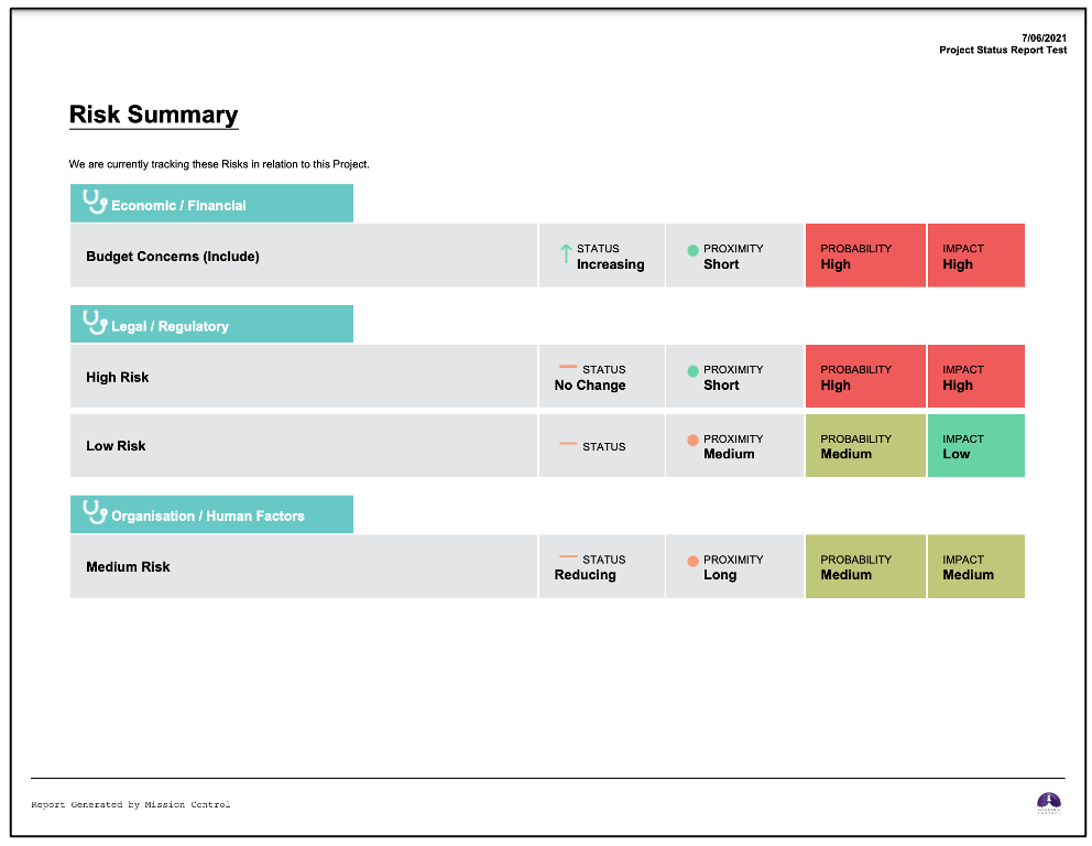 Salesforce Project Management Software - Project Status Report Risk Summary