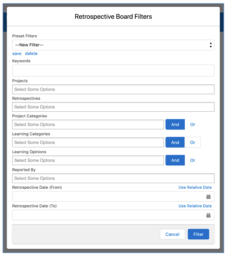 Salesforce Project Management Software - Retro Board Filters