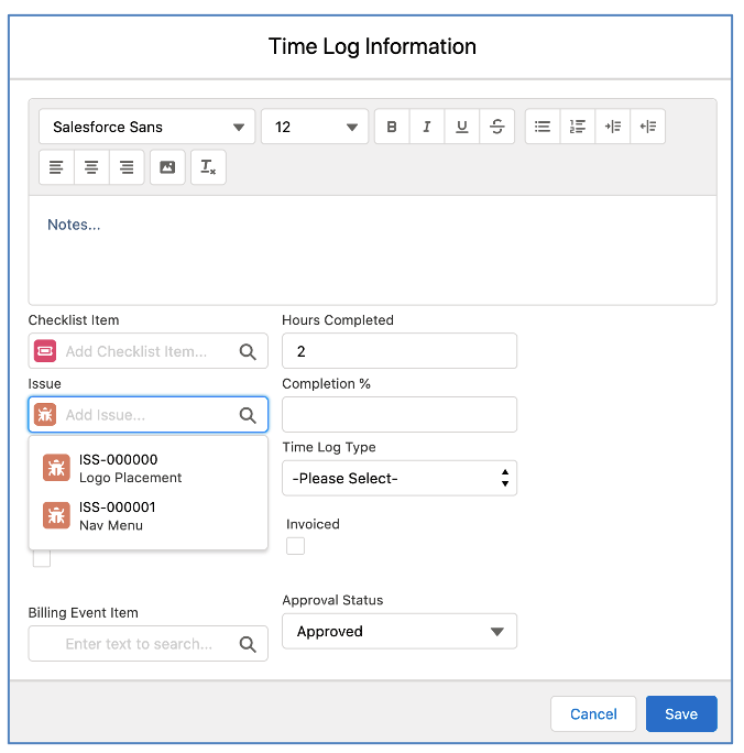 Salesforce Project Management Software - Timesheet Modal Relate to Issues Time Log